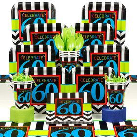 Chevron Mix 60th Birthday Deluxe Tableware Kit Serves 8