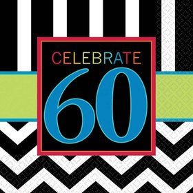 Chevron Mix 60th Birthday Luncheon Napkins (16 Pack)