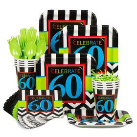 Chevron Mix 60th Birthday Standard Tableware Kit Serves 8