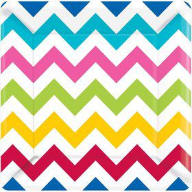 "Chevron Multi Color 10"" Luncheon Plates (18 Pack)"
