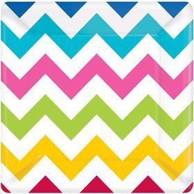 "Chevron Multi Color 7"" Cake Plates (18 Pack)"