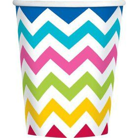 Chevron Multi Color 9oz Cups (18 Pack)