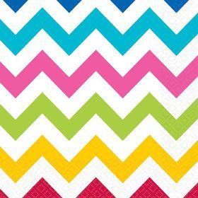 Chevron Multi Color Beverage Napkins (36 Pack)