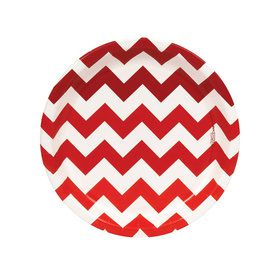 Chevron Red Dessert Plates
