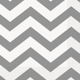 Chevron Silver Lunch Napkins (16)