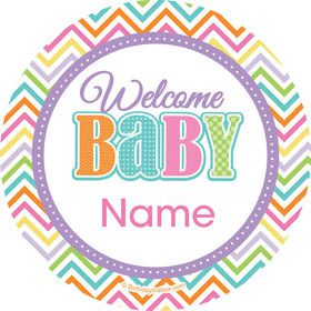 Chevron Stripe Baby Shower Personalized Mini Stickers (Sheet of 20)