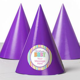 Chevron Stripe Baby Shower Personalized Party Hats (8 Count)