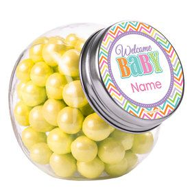 Chevron Stripe Baby Shower Personalized Plain Glass Jars (12 Count)