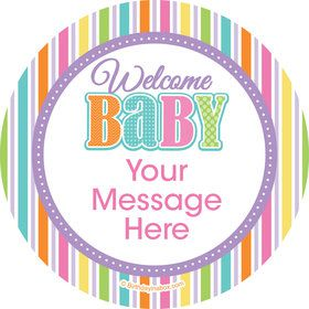 Chevron Stripe Baby Shower Personalized Stickers (Sheet of 12)