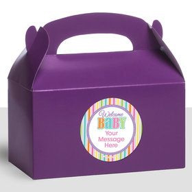 Chevron Stripe Baby Shower Personalized Treat Favor Boxes (12 Count)