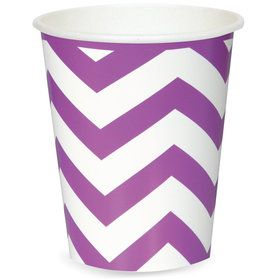 Chevron Stripe Paper Cups - Pretty Purple (6)