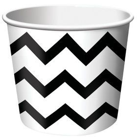 Chevron Stripe Treat Cups - Black (6)