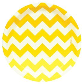 Chevron Yellow Dinner Plates