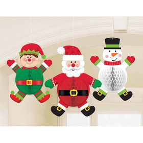 Christmas Characters Honeycomb Hanging Decorations (3)