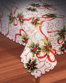 "Christmas Holly Fabric Tablecover 54"" x 108"""