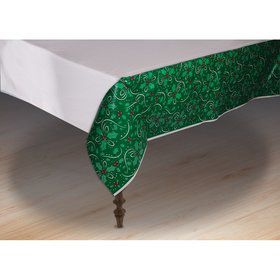 "Christmas Holly Plastic Tablecover 54"" x 72"""