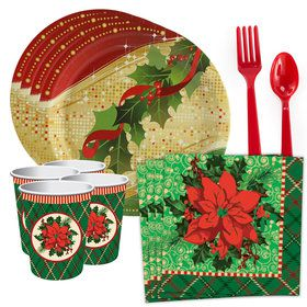 Christmas Poinsettia Standard Tableware Kit (Serves 8)