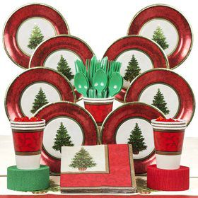 Christmas Tree Party Deluxe Tableware Kit Serves 8