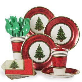 Christmas Tree Party Standard Tableware Kit Serves 8