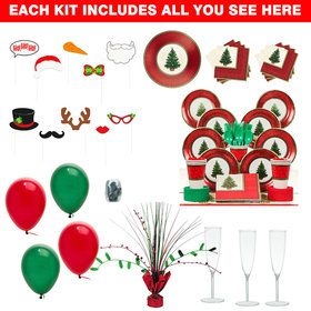 Christmas Tree Party Ultimate Tableware Kit Serves 8