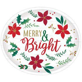 Christmas Wishes Oval Dinner Plates (8)