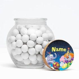 "Circus Party Personalized 3"" Glass Sphere Jars (Set of 12)"