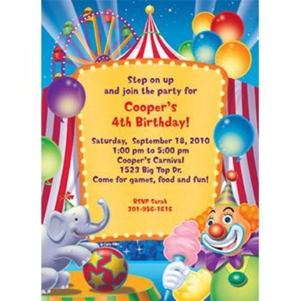 Circus Party Personalized Invitation Each View Larger Image