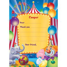 Circus Party Personalized Thank You Note (each)