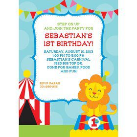 Circus 1st Birthday Personalized Invitation (each)