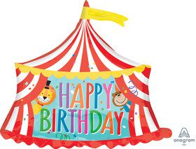 "Circus Tent Happy Birthday 28"" Balloon (1)"