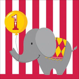 Circus Time 1st Birthday Luncheon Napkins (16 Count)