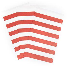 Classic Red Striped Paper Treat Bags (15)