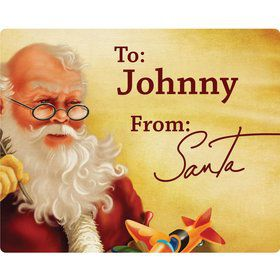 Classic Santa Rectangle Gift Tag (Sheet of 15)