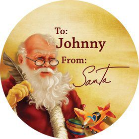 Classic Santa Round Gift Tag (Sheet of 12)