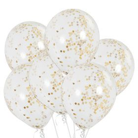 Clear Latex Balloons With Gold Confetti (6 Count)
