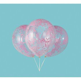 "Clear Latex Balloons with Lovely Pink Confetti 12"", 6ct - Pre-Filled"