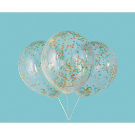 """Clear Latex Balloons with Multi-Colored Confetti 12"""", 6ct - Pre-Filled"""