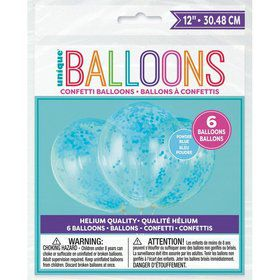 """Clear Latex Balloons with Powder Blue Confetti 12"""", 6ct - Pre-Filled"""