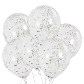 Clear Latex Balloons With Silver Confetti (6 Count)