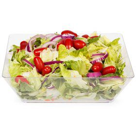 "Clear Plastic 11"" Square Serve Bowl (Each)"