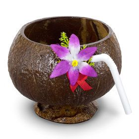 Coconut Molded Cup with Straw