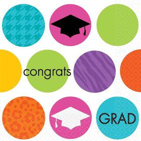 Colorful Commencement Beverage Napkins (36 Pack)