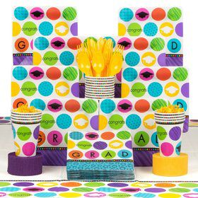 Colorful Commencement Deluxe Tableware Kit Serves 18
