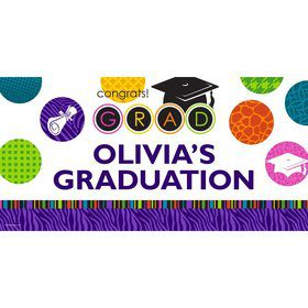"Colorful Commencement Personalized Giant Banner 60X3"" (Each)"