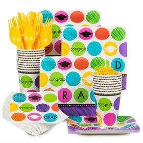 Colorful Commencement Standard Tableware Kit Serves 18