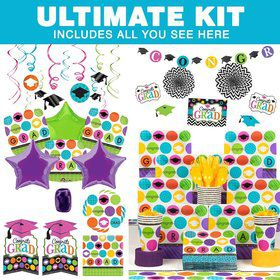 Colorful Commencement Ultimate Tableware Kit Serves 18