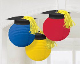 "Colorful Grad 9 1/2"" Lanterns with Grad Caps (3 Pack)"