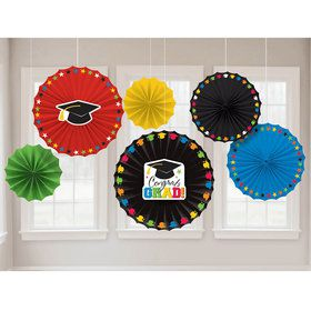Colorful Grad Fan Decorations (6 Pack)