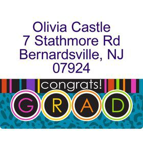 Colorful Graduation Personalized Address Labels (Sheet Of 15)