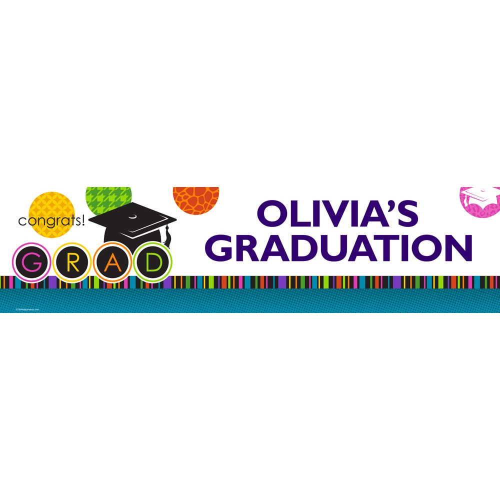 Colorful Graduation Personalized Banner (Each) - Party Supplies BB1406BN